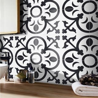 Nador Black and White Handmade Moroccan 8 x 8 inch Cement and Granite Floor or Wall Tile (Case of 12)|https://ak1.ostkcdn.com/images/products/11046719/P18059258.jpg?impolicy=medium