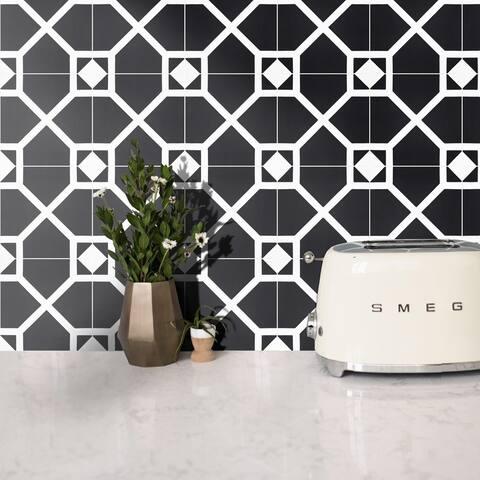 Handmade Mogador in Black and White Tile, Pack of 12 (Morocco)
