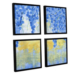 ArtWall Herb Dickinson's Vines Over Water, 4 Piece Floater Framed Canvas Sqare Set