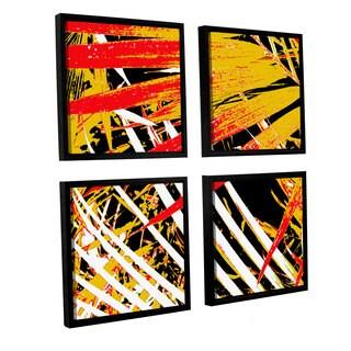 ArtWall Herb Dickinson's Palms Away V, 4 Piece Floater Framed Canvas Sqare Set