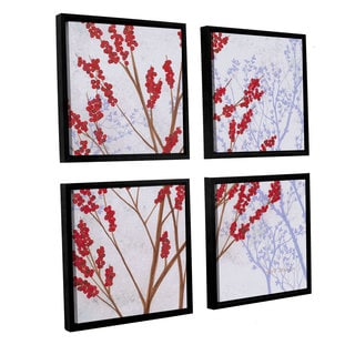 ArtWall Herb Dickinson's Red Berries, 4 Piece Floater Framed Canvas Sqare Set