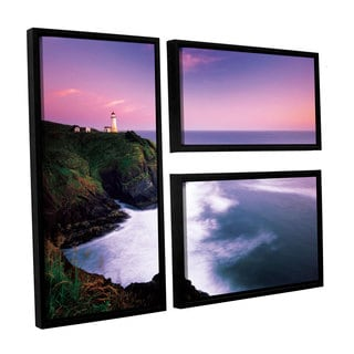 ArtWall Alan Majchrowicz's Cape Disappointment Lighthouse, 3 Piece Floater Framed Canvas Flag Set