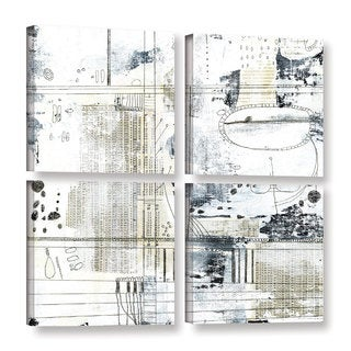 ArtWall Sarah Ogren's Neutral Abstract, 4 Piece Gallery Wrapped Canvas Square Set