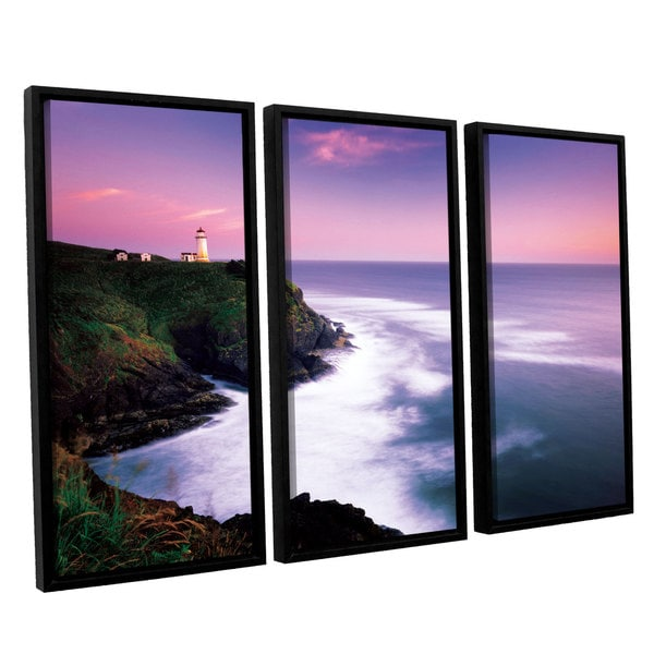 ArtWall Alan Majchrowicz's Cape Disappointment Lighthouse, 3 Piece Floater Framed Canvas Set