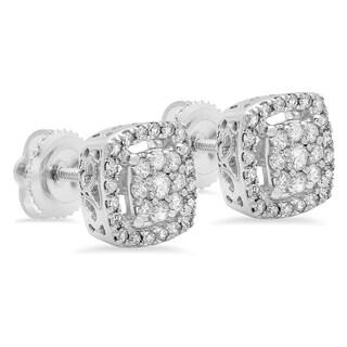 Elora 10k White Gold 1/2ct TDW Round Diamond Cluster Stud Earrings (I-J, I1-I2)