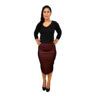 Women's Fold Over Faux Leather Pencil Skirt