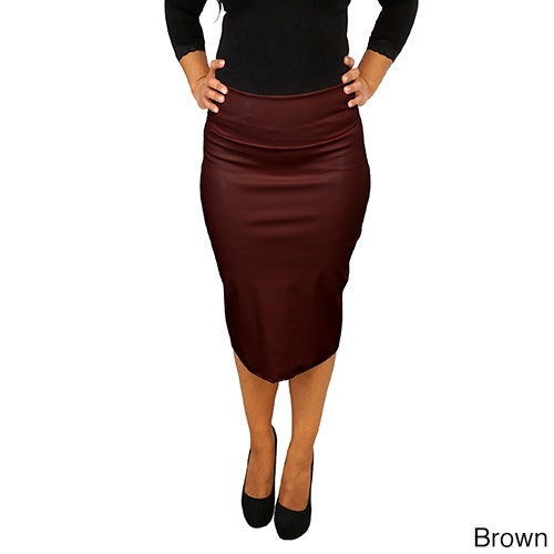 33eaa780701a Shop Women's Fold Over Faux Leather Pencil Skirt - Free Shipping Today -  Overstock - 11047063