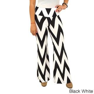 Women's Fold Over Waist Wide Leg Chevron Palazzo Pants (B...