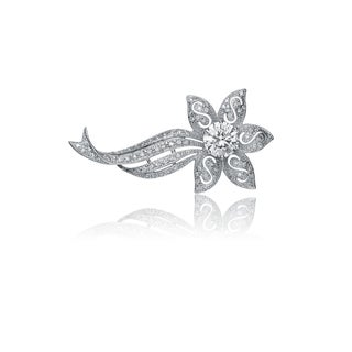 Collette Z Sterling Silver Cubic Zirconia Horizontal Floral Pin