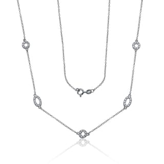 Collette Z Sterling Silver Clear Cubic Zirconia Open Shapes Necklace