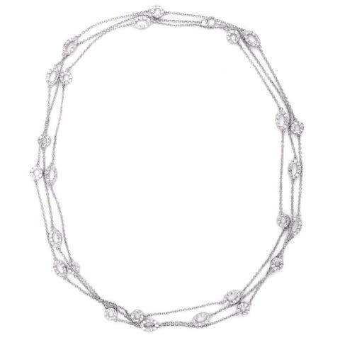 Collette Z Sterling Silver Clear Cubic Zirconia Layered Necklace - White