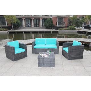 Citron Wicker 4-piece Deep Seating Sofa Set