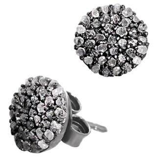 Pori Black Rhodium-plated Sterling Silver 1/3ct TDW White Diamond Stud Earrings
