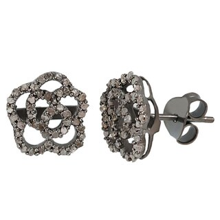 Pori Black Rhodium-plated Sterling Silver 5/8ct TDW Flower White Diamond Stud Earring