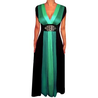 Funfash Women's Plus Size Green/ Black Colorblock Maxi Dress
