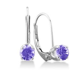1/2 Carat Tanzanite Leverback Earrings In 14 Karat White Gold