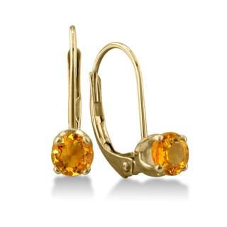 1/2 Carat Citrine Leverback Earrings In 14 Karat Yellow Gold