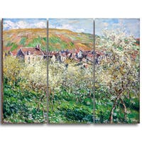 Design Art 'Claude Monet - Flowering Plum Trees' Canvas Art Print - 36Wx32H Inches - 3 Panels - Multi-color