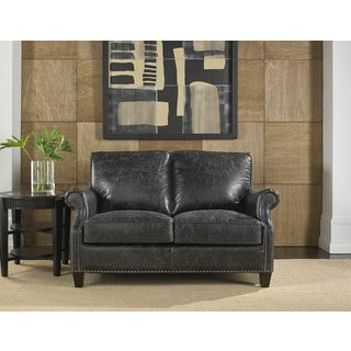 Lazzaro Leather Nathan Charcoal Loveseat