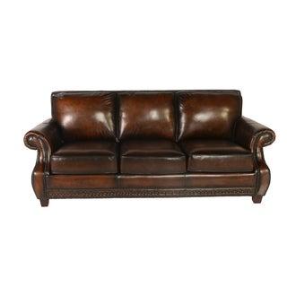 Lazzaro Leather Prato Black and Tan Sofa
