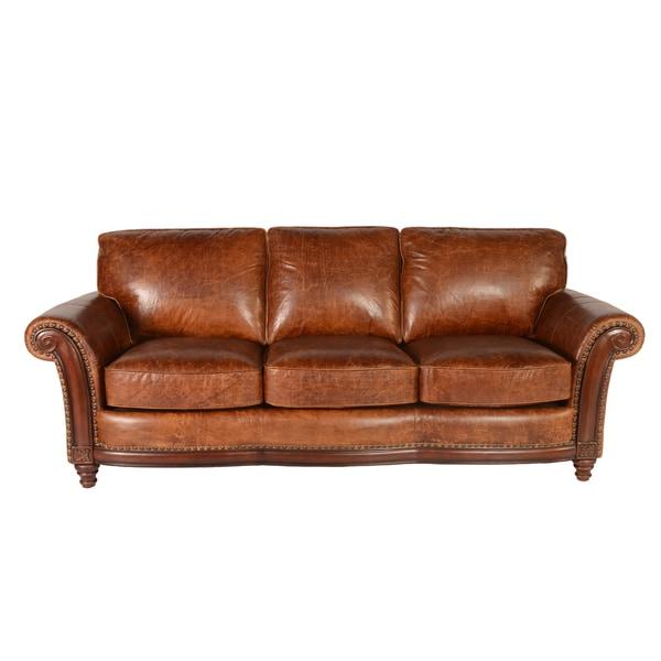 Shop Lazzaro Leather Alexus Caramel Sofa