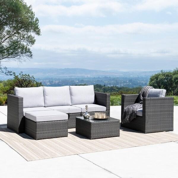 Shop Corvus Trey Outdoor 6 Piece Wicker Sofa Set With Glass Top On