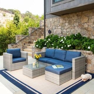 Corvus Trey Outdoor 6-piece Wicker Sofa Set with Glass Top