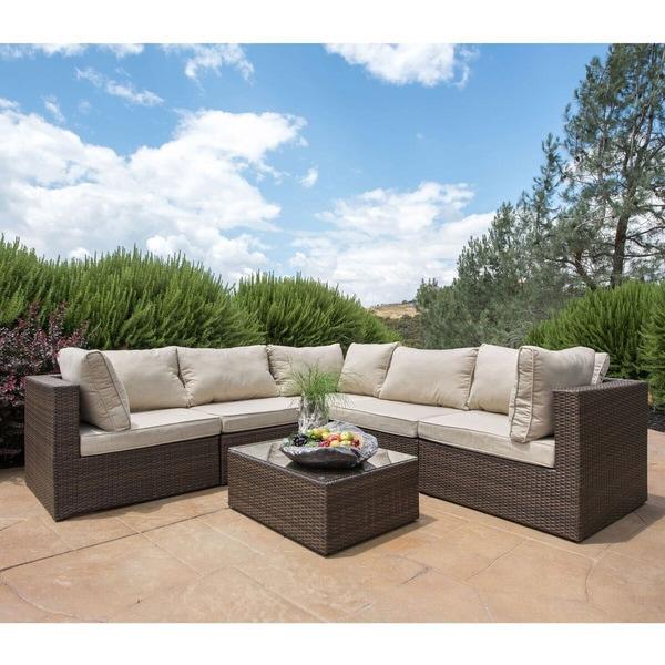 Corvus tierney outdoor 6 piece wicker sectional sofa set for Outdoor furniture 0 finance
