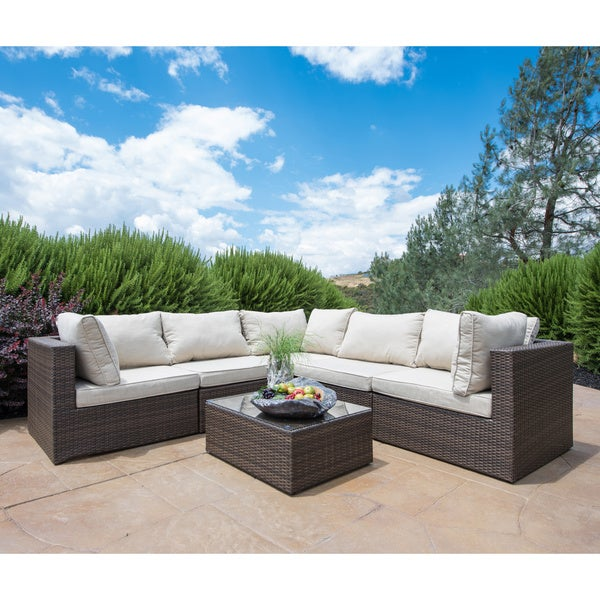 Rattan Coffee Table Sydney: Corvus Tierney Six-Piece Outdoor Furniture Set With Glass