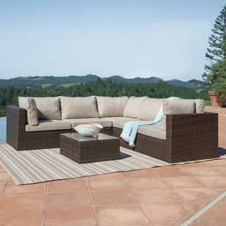 Corvus Tierney Outdoor 6-piece Brown Wicker Sectional Sofa Set
