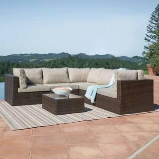 Corvus Tierney Outdoor 6-piece Aluminum Wicker Sectional Sofa Set