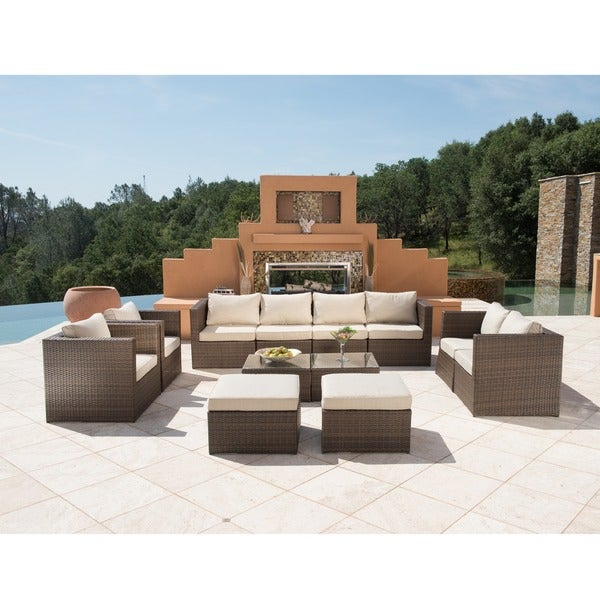 Corvus Trey 12 Piece Dark Brown Wicker Patio Furniture Set With Glass Top