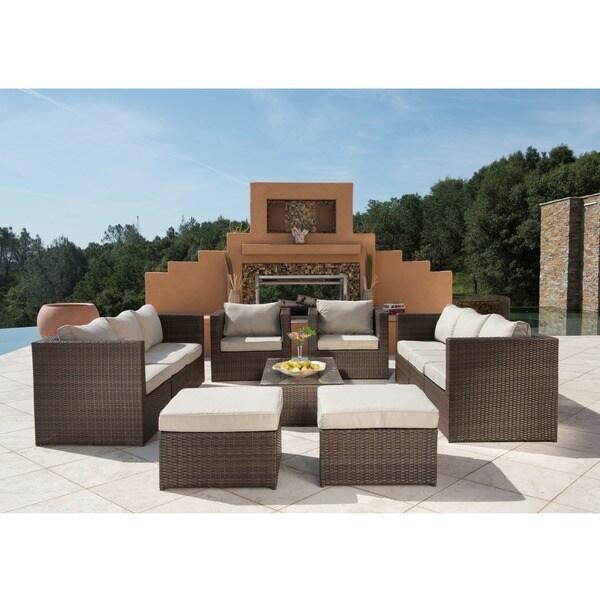 Corvus Trey Outdoor 12 Piece Brown Wicker Sofa Set With Glass Top