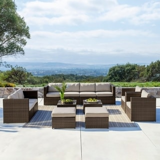 Corvus Trey Outdoor 12-piece Brown Wicker Furniture Set with Glass Top