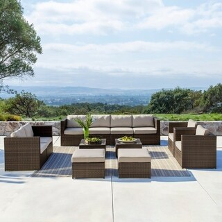 Corvus Trey 12-piece Dark Brown Wicker Patio Furniture Set with Glass Top