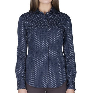 Robert Talbott Women's Long Sleeve Blue with White Polka Dots Blouse