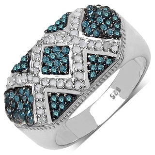 Malaika Sterling Silver 5/8ct TDW Blue and White Diamond Ring