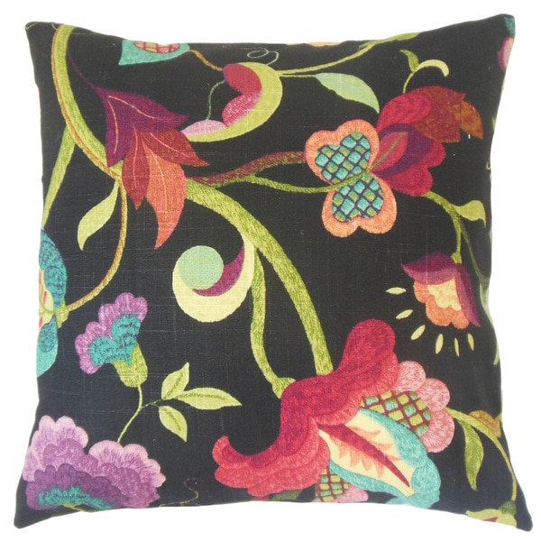 Hesperia Black Floral Down and Feather Filled 18-inch Throw Pillow