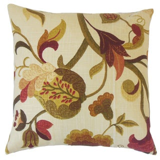 Hesperia Green Floral Down and Feather Filled 18-inch Throw Pillow