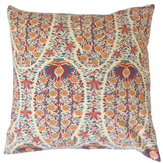 Gerlinde Red Floral Down and Feather Filled 18-inch Throw Pillow