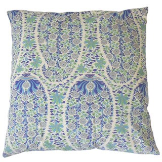 Gerlinde Blue Floral Down and Feather Filled 18-inch Throw Pillow