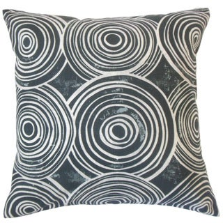 Ahuva Blue Geometric Down and Feather Filled 18-inch Throw Pillow