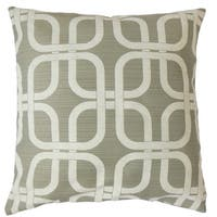 Bertille Grey Geometric Down and Feather Filled 18-inch Throw Pillow