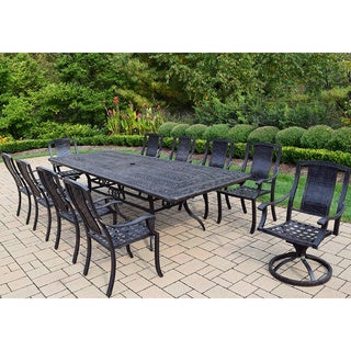Ravenna 11-piece Dining Set, with Extendable Table, 2 Swivel Rockers, and 8 Stackable Chairs