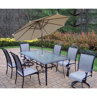 Aluminum Sling 9-piece Dining Set with Umbrella