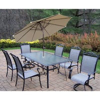 Aluminum Sling 9-piece Dining Set with Umbrella