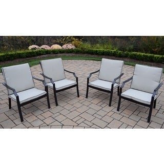 Premium Stackable Aluminum Deep Seat Chat Chairs with Seat and Back Cushions (Pack of 4)