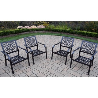 Premium Stackable Aluminum Deep Seating Chat Chairs (Pack of 4)