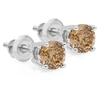14k Gold 1/3ct TDW Champagne Diamond Earrings