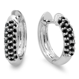 Elora 18k White Gold 1/3ct TDW Round Black Diamond Pave Hoop Earrings